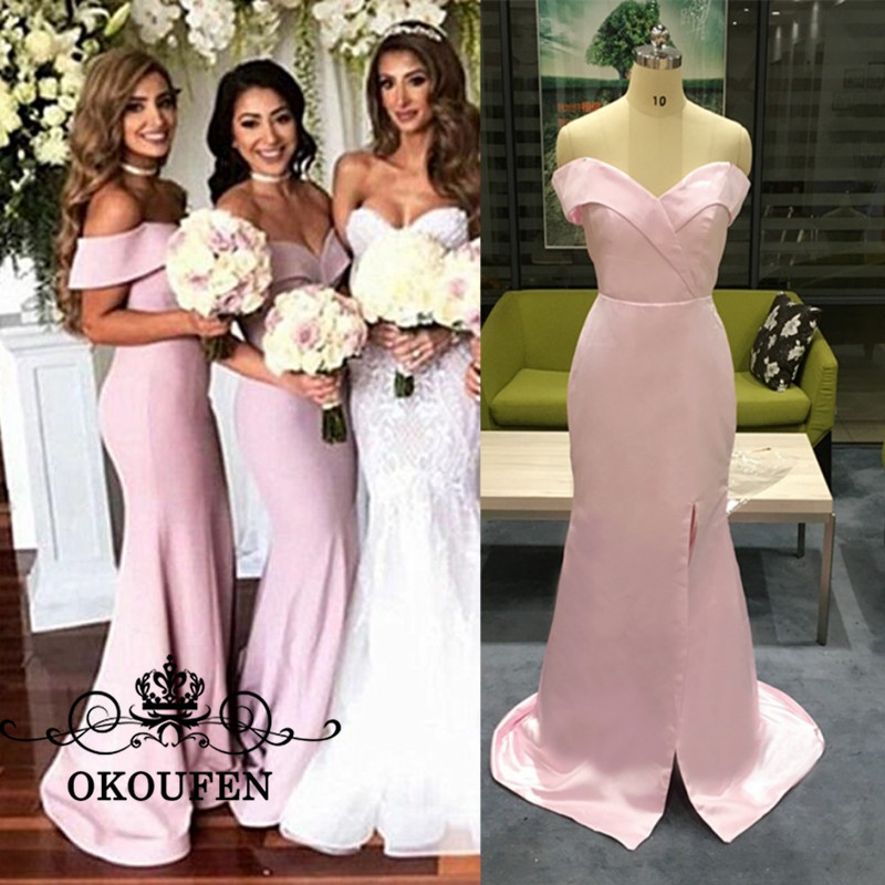 100% Real Photo Mermaid   Bridesmaid     Dresses   2019 Pink Satin Sexy Side Split Off Shoulder Long Maid Of Honor   Dress   Party For Women