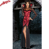 Halloween Medieval Dark Red Renaissance Dress Gothic Ball Gown Vampire Costume Free Shipping