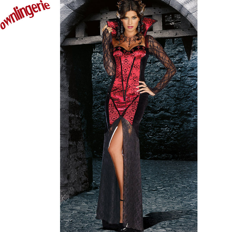Halloween Medieval Dark Red Renaissance Dress Gothic Ball Gown Vampire Costume Free Shipping