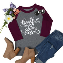 Women T-Shirt 3/4 Sleeve Letter Print Thankful & Blessed O-Neck Baseball Female Cute Casual Femme Ladies Tops Tee 2 XL