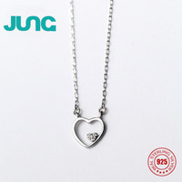 JUNG HOT Sale Simple Cute 925 Sterling Silver Necklace Hollow Heart Zircon Gift Charms Pendant Jewelry