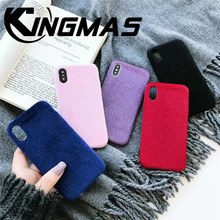 Plain Plush mobile phone case for iphone 6 6S 7 8 PLUS X XS XR MAX back cover soft shockproof