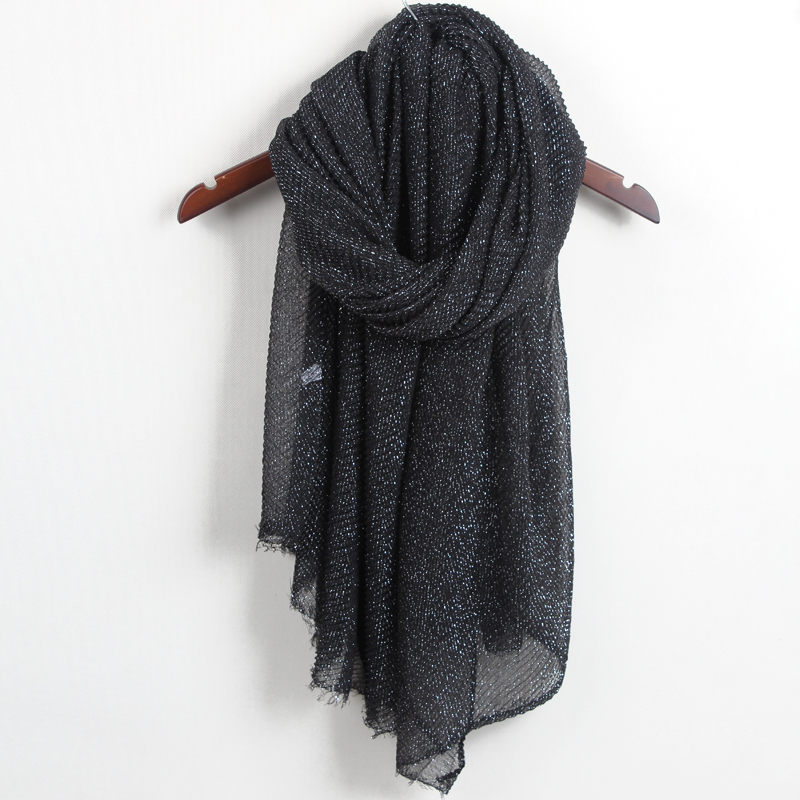 New arrival Pure color embossing silver line cotton Viscose scarf shawl women pashmina muslim echarpe wraps muffler LJJ01