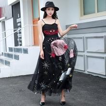 цена на High quality mesh dress Chic women's party dress Embroidered slip dress G141