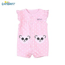 LONSANT Hot Selling Summer Cute Kids Baby Boys Girls Pink Cartoon Clothes Short Sleeve Dots Panda Printing Romper Outfits(China)