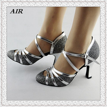Latin Dance Shoes Salsa Shoes Women Ballroom Dancing Shoes Ladies Glitter Silver Comfort  Customized Heels