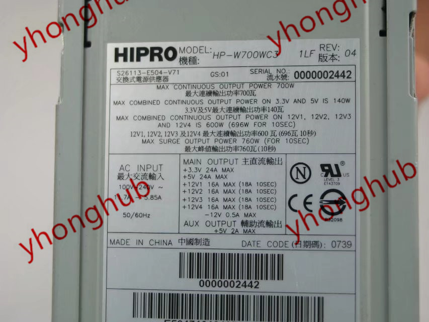 US $323 0 |Aliexpress com : Buy Emacro HIPRO For HP W700WC3 S26113 E504 V71  Server Power Supply 760W PSU TX200 S3 CELSIUS R630 from Reliable power