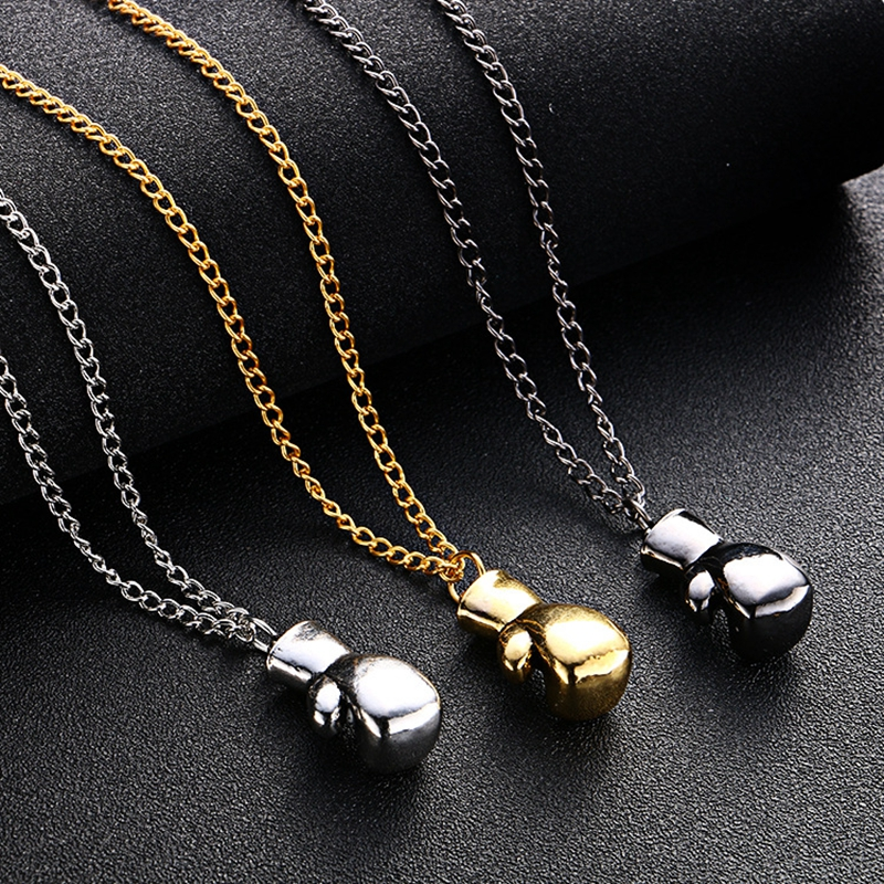 Men and Women Fitness Boxing Gloves Pendants Necklace, Steampunk Necklaces Women, Gift for Friends