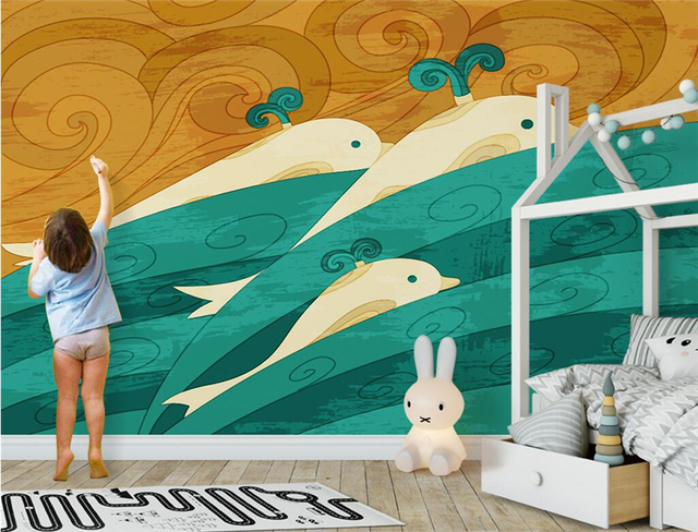 Custom Nature Wall Murals Hand Painted Whale Wall Paper for Kids