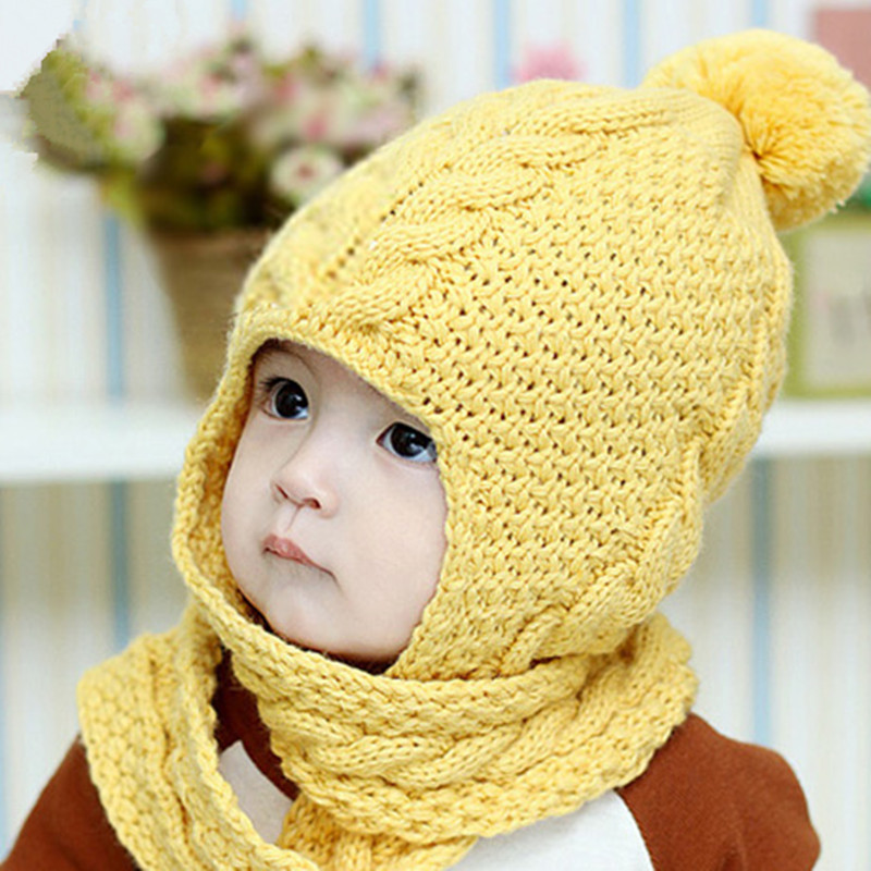 Cute Baby Handmade Beanie Scarf Costume Warm Thick Knitted Hat with Scarf Newborn Hats Caps