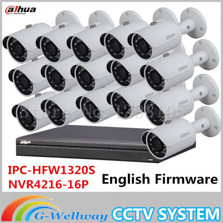 Dahua 16 Channel 3MP 1080P Network Surveillance Camera Kit:16CH 16POE NVR NVR4216-16P+16xIP Bullet Camera IPC-HFW1320S dahua 32ch nvr 16 poe 2u case 8 sata 1080p 200mbps gigabit rj45 android ios
