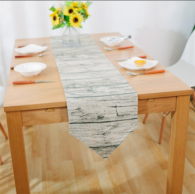 Retro Wood Grain Creative Table Runner Party Decoration Fabric For Sewing  Coffee Table Runners Gray Tablecloth