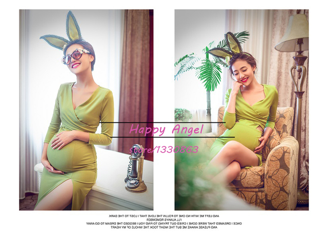 2015 Maternity clothes for Photography Props pregnant women sexy cute green Dress rabbit costume Summer style Free shipping