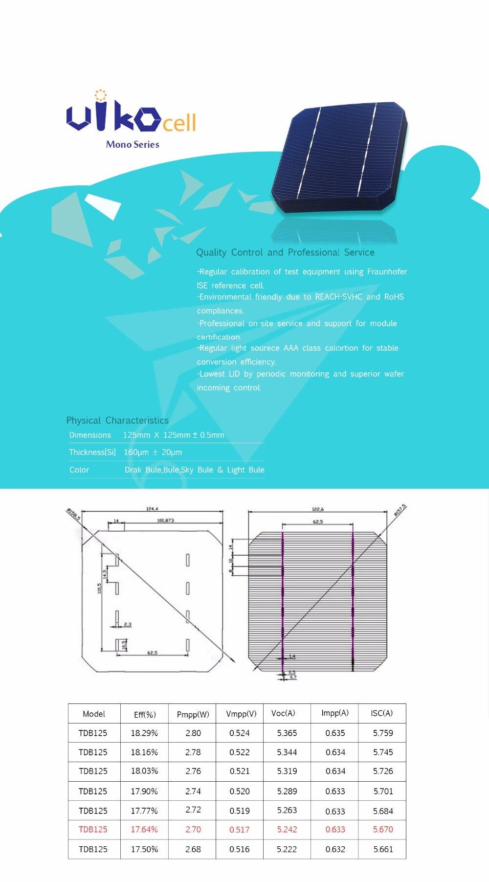80 células solares 5x5 do silicone monocristalino