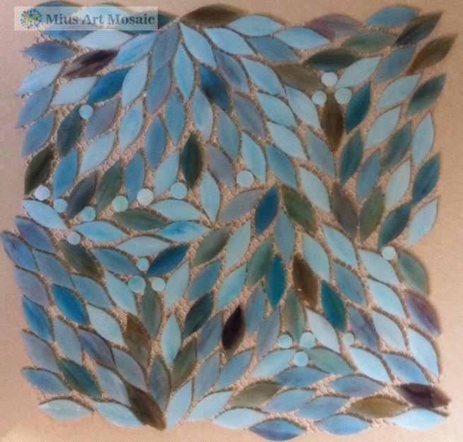 blue stained glass tiles leaves patterns d7011