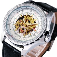 Top Brand Luxury Men Automatic Mechanical Wrist Watches WINNER Brand Golden Skeleton Louvre Series Design Dial