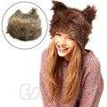 Frete Grátis! 1 pc New Mulheres Inverno da Pele Do Falso De Pelúcia Adorável Animal Cap Orelha de Gato Chapéu De Pele Macia