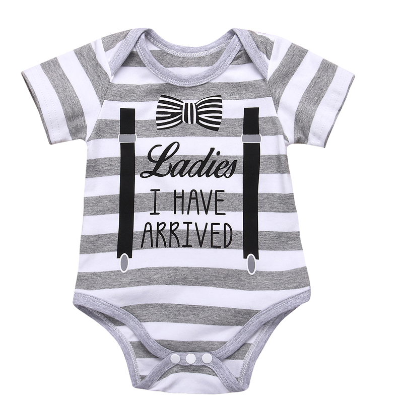 Hot Sales Baby Boys Girls Clothes Fashion Cartoon Short Sleeve Clothing Newborn Bowtie Overall Boy Girl Bodysuits Body Suit