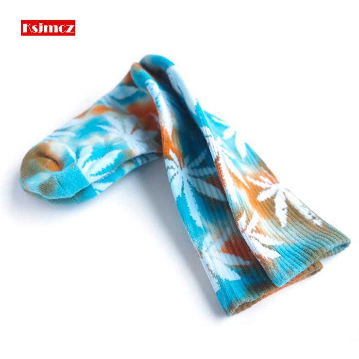 KSJMCZ Новый Галстук окрашенный лист конопли Huf полотенце снизу толстые хлопковые носки труба скейтборд кленовый лист мужские и женские носки 1 пара