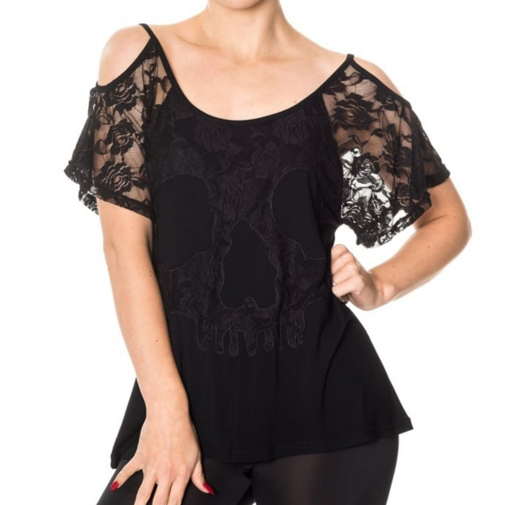 Women Elegant Flower Lace Off Shoulder Summer Blouse O-neck Fashion Black Tops