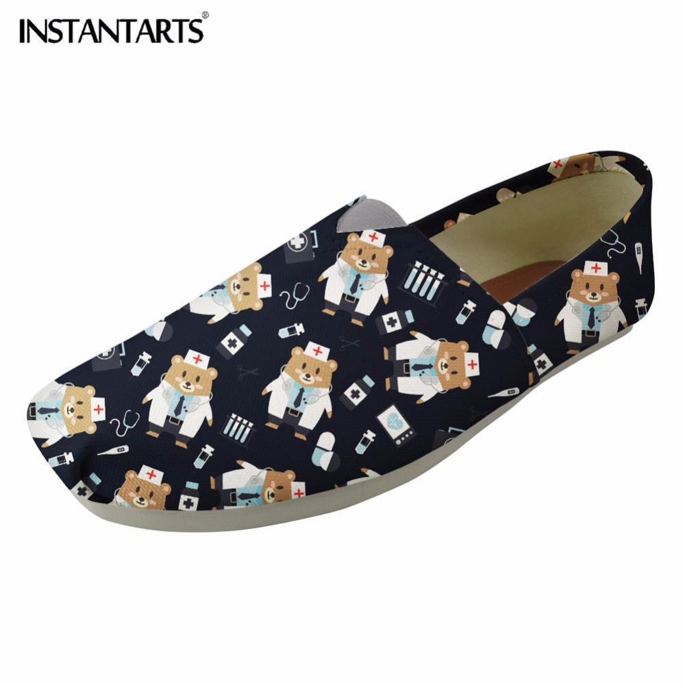 INSTANTARTS Women Nursing Flat Shoes 3D Cartoon Nurse Bear Pattern Slip On Casual Loafers Canvas Shoes for Woman Tenis Feminino