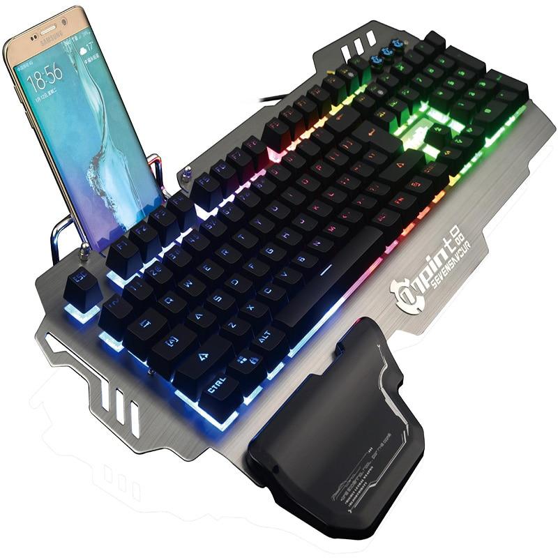 PK900 Mechanical Gaming Keyboard USB Wired LED RGB Backlit Aluminum Alloy Keyboard for Overwatch Desktop Laptop Teclado Gamer PC цена 2017