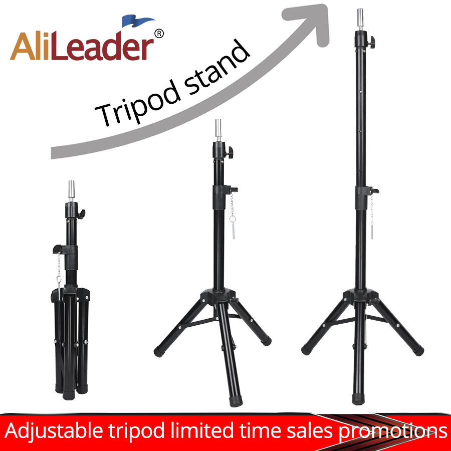 Black Tripod for Wigs Head Stand Adjustable Wig Stand for Mannequin Training Head Holder Hairdressing Clamp Tripod Stand Holder