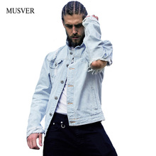 MUSVER Hole Denim Jacket Men 2017 Cotton Hip Hop Vintage Wash Water Oversize Ripped Streetwer Blue Mens Jeans Jacket And Coats(China)