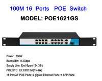 IU Metal Enclosure 16ports 100M POE Switch 2ch Gigabit Rackmount RJ45 uplink Network Ethernet with 1ch 1000M SFP interface