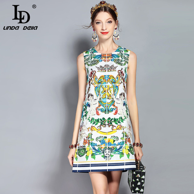 LD LINDA DELLA New Fashion Runway Summer Dress Women's Sleeveless Tank Angel Floral Pattern Print Beading Vintage Dress