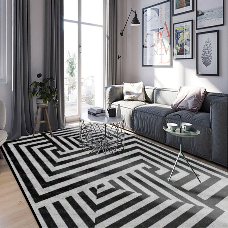 Black White Geometric Living Room Carpet Nordic Modern ...