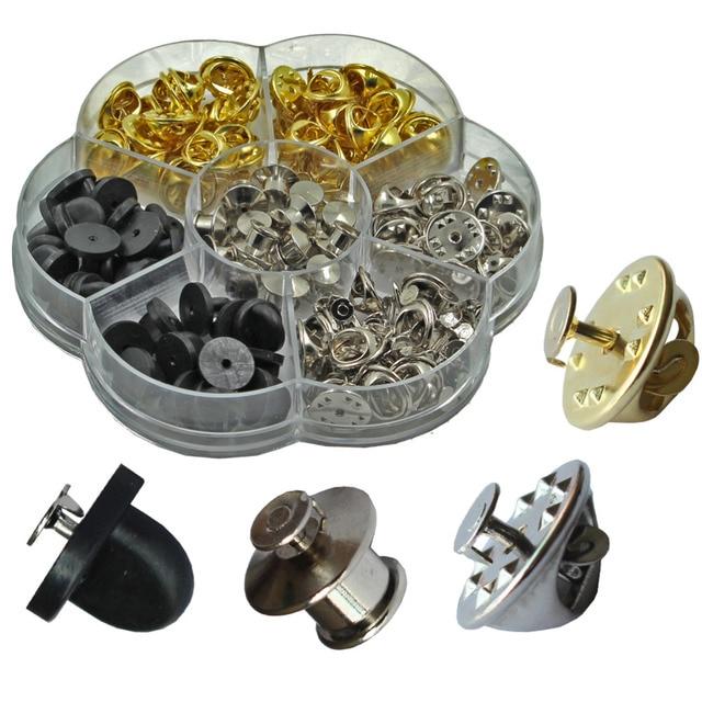 200 pcs 6 styles clutch pin backs with tie tacks blank pin kit pvc rubber pin keeper backs