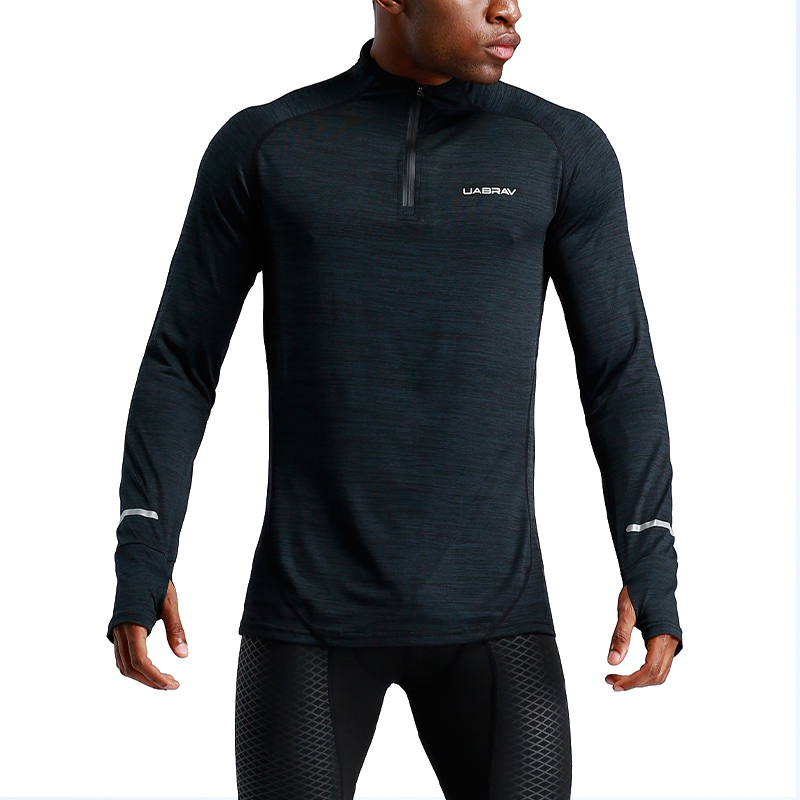 New Mens Stretch T-Shirt Solid Color Zipper Turtleneck Elastic Long Sleeve T Shirts Men Slim Casual Mens T-Shirt With Gloves