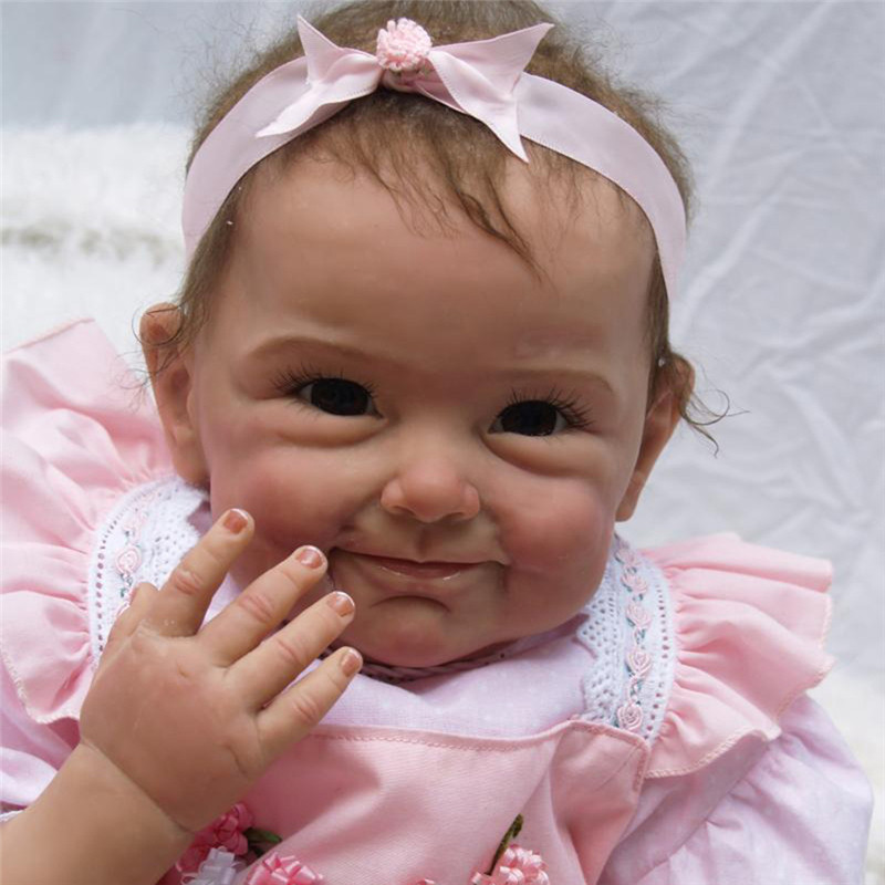 NPK 55cm Silicone Reborn Baby Dolls In Pink 22 Inch Lovely Reborn Doll For Baby Christmas Gift Bonecas Bebe Reborn Brinquedos bebe reborn doll silicone reborn reborn baby dolls lol doll brinquedos boneca reborn christmas gift for girl birthday npk