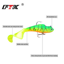 FTK Lure Soft Bait With Treble Hooks 3D Eyes lure stackle soft bait 1pc 80/100mm bass baits Fishing Accessories