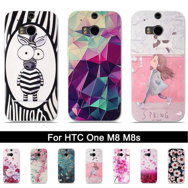 Phone Case For HTC One M8 M8s Back Silicone Cover Case for HTC One M 8 M 8s Soft TPU 3D Relief Print Shells For HTC M8 M8s Bags