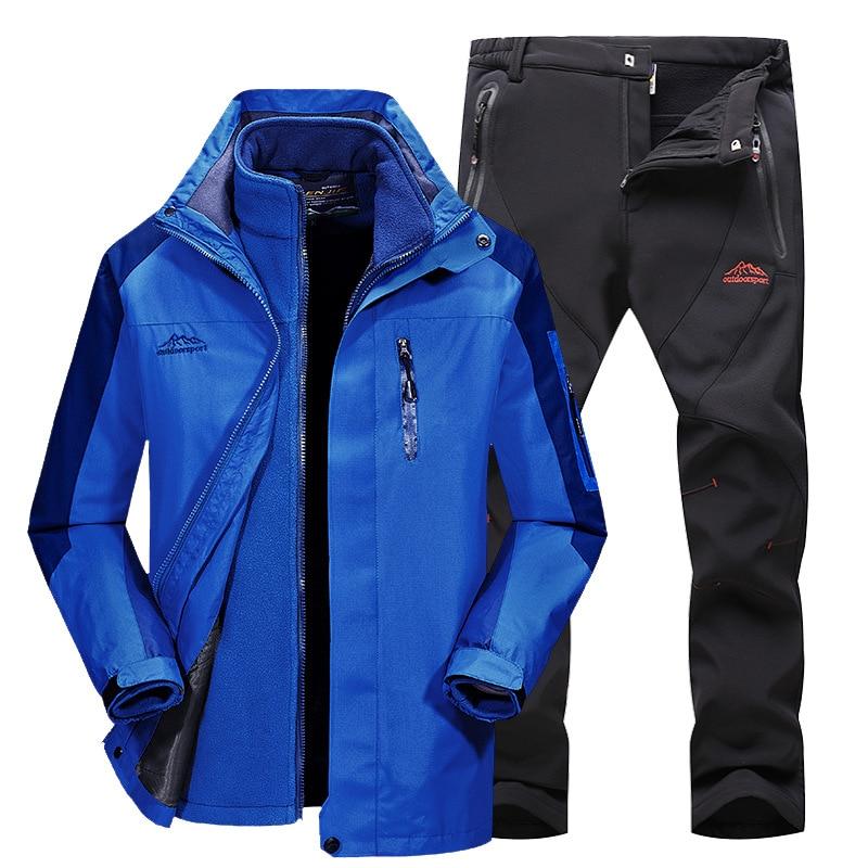 Thicked Men Winter Waterproof Pants And Jackets Women Ski Suits Snowboarding Suit Sport Ladies Snow Sportswear Set