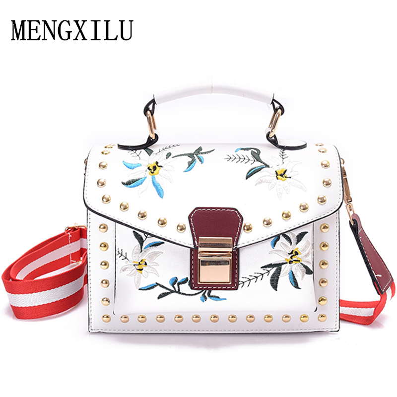 2017 Spring Summer Fashion Women Crossbody Bags Small Embroidery Women Shoulder Bags Luxury Floral Ladies Leather Messenger Bag jianxiu spring summer small simple messenger bags famous brand split leather women crossbody shoulder bag for ladies 3 colors