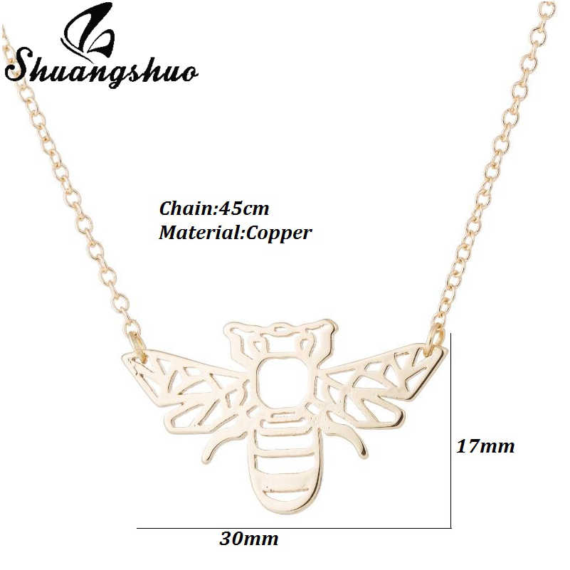 Shuangshuoエスニック折り紙蜂ネックレス用女性蜂蜜蜂ネックレスチョーカー幾何ゴールド蜂ネックレス&ペンダントアクセサリー