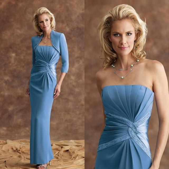 Elegante Mãe azul Dos Vestidos de Noiva com jaqueta de 2017 Coluna Sem Alças de Cetim Frisado do Assoalho-Comprimento vestidos de Noite