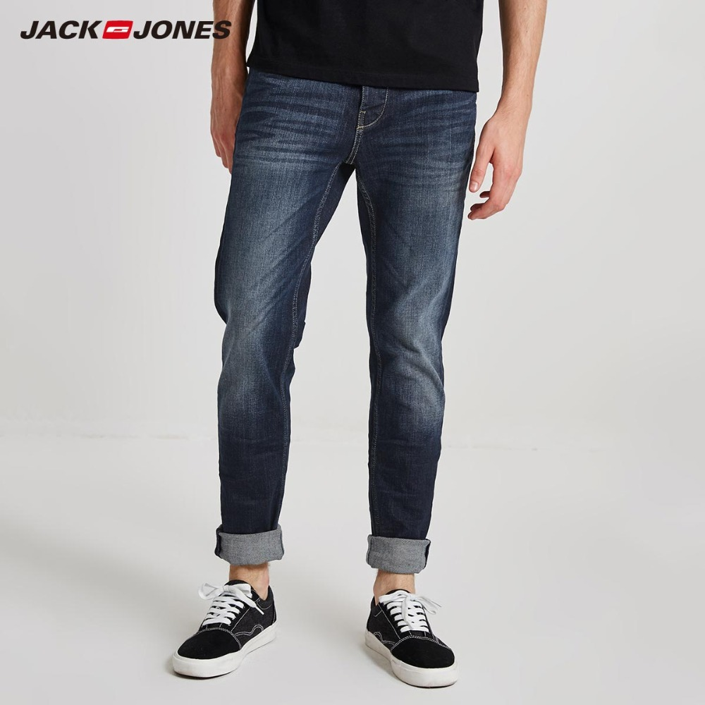 JackJones Men's Winter Slim Fit Casual   Jeans   Stretch Biker Pants Fashion Classical Denim   Jeans   Men Slim Male   Jeans    218332601