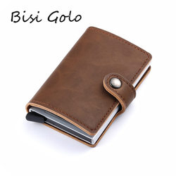 BISI GORO 2019 Men And Women Card Holder Aluminium Credit Card Holder With RFID PU Single Box Mini Magic Wallets Drop-shipping