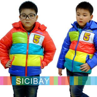 Boys Fashion Overcoats Colorful Rainbow Hooded Jackets,Free Shipping  C0214