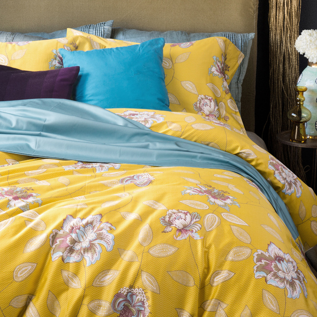Brief Floral 4Pcs Queen/King Size Bedding Sets Egyptian Cotton Bedlinens  Customized Yellow Duvet Cover