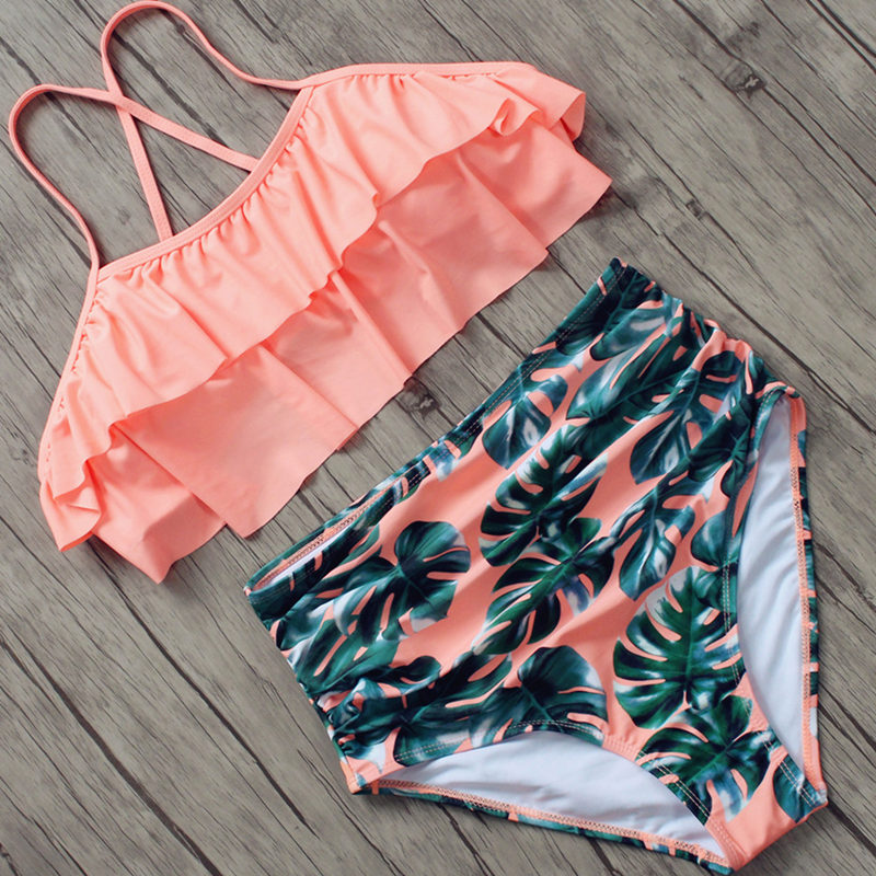 <font><b>Sexy</b></font> Women <font><b>Swimwear</b></font> <font><b>High</b></font> <font><b>Waist</b></font> <font><b>Bikini</b></font> Plus Size 3XL Swimsuit Summer Beach Bathing Suit Push Up <font><b>Bikini</b></font> <font><b>Set</b></font> Maillot De Bain Femme image