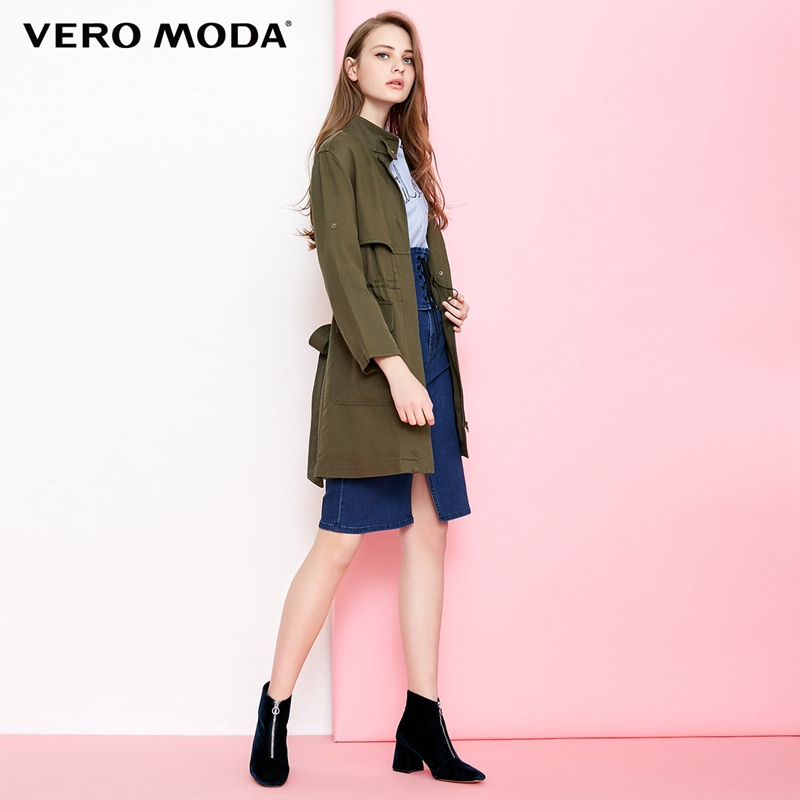 Vero Moda Drawstring Cinched Waist Medium Length   Trench   Coat | 318321543