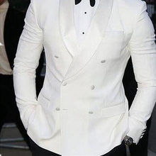 White Business Mens Suits Double Breasted Custom Made Slim Fit Wedding Groom Tuxedos Shawl Lapel Two Piece Jacket Pants Blazer