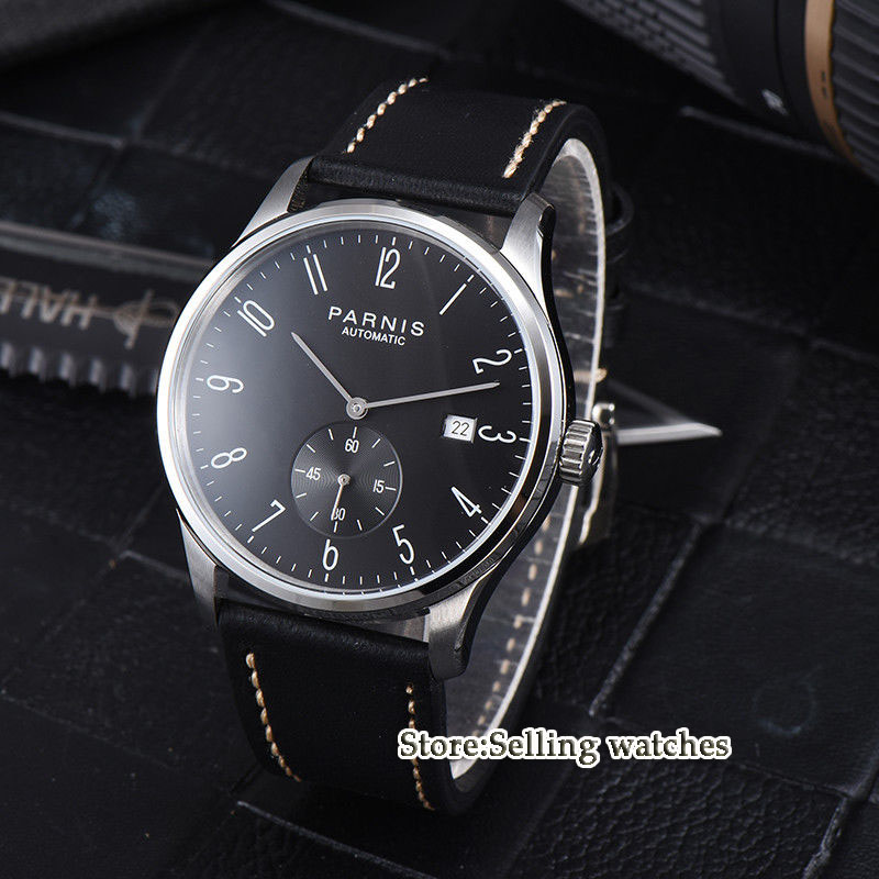 new arrive 42mm parnis black dial date window ST 1731 automatic MENS watch in Mechanical Watches from Watches