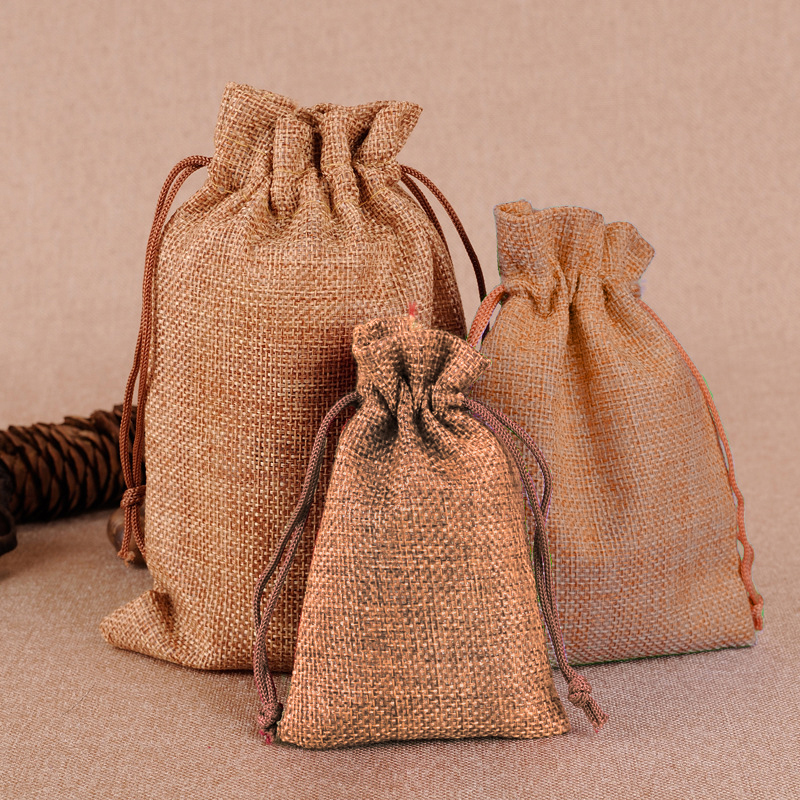 50PCS Hessian Jute Drawstring Pouch Burlap Bags Wedding Favors Party Christmas Gift Jewelry Sack Pouches Packing Storage Bag S30