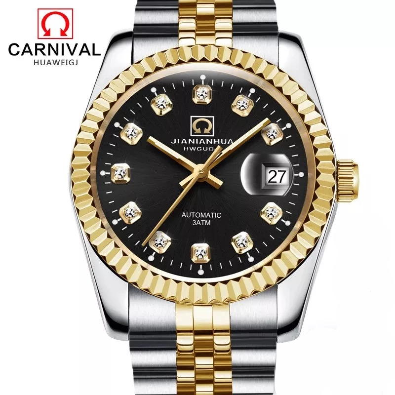 цена на Carnival Top Brand Automatic Watch Men Luxury Diamond Gold Mechanical Watches Datejust Fluted Bezel Mens Clock horloges mannen